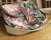 Boho Tapestry Crossbody Bag With Leather Trim and Closure Made in England