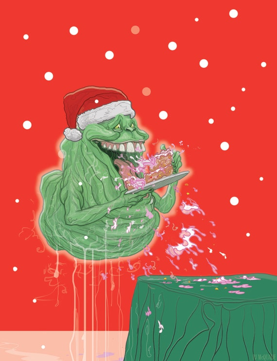 Ghostbusters Slimer Christmas card