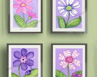 "purple violet Daisy garden flowers baby nursery kids ART PRINTS set of four 8x10"""