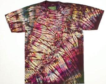 M Shibori Men's Tie Dye Mens T Shirt Multi Brown Medium