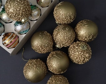 unique lava set of krebs gold christmas glass ball ornaments // german // glitter // set of 9