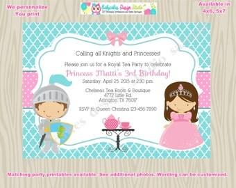 Royal Tea Party Birthday Invitation invite knights and princess tea party invitation boy girl party invitation African American Printable