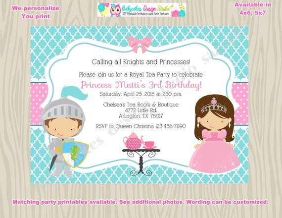 Royal Tea Party Birthday Invitation invite knights and