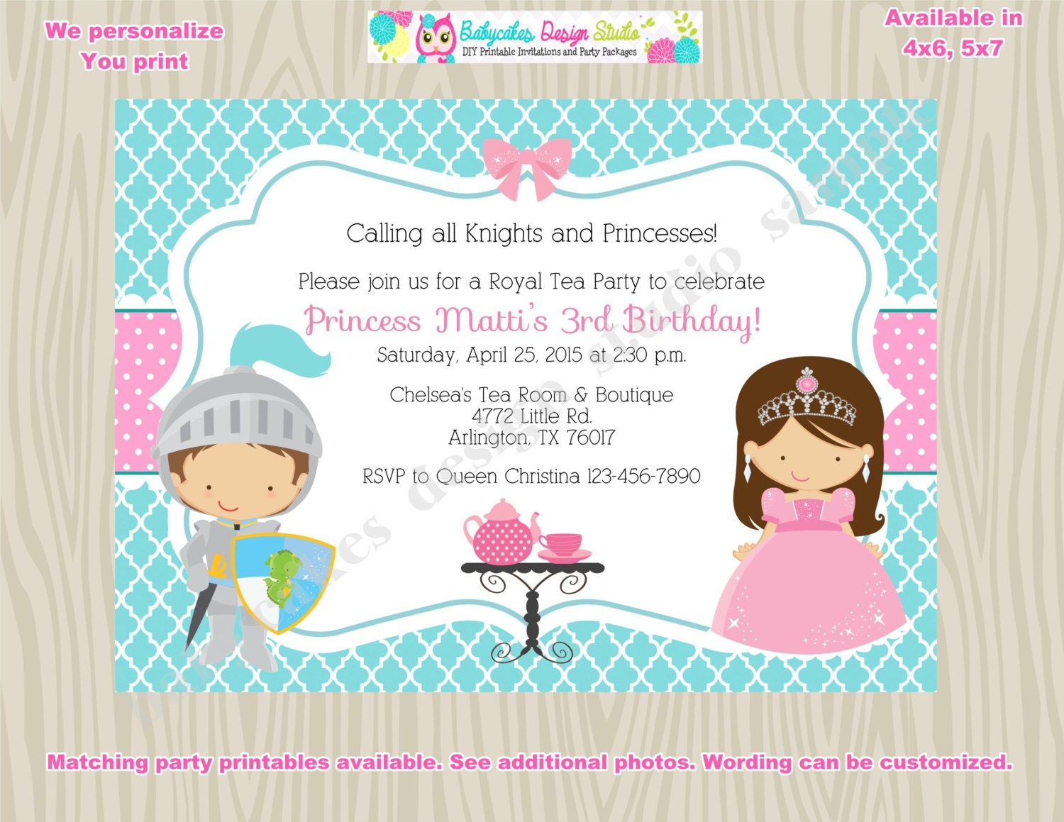 Royal Tea Party Birthday Invitation invite knights and – Princess and Knight Party Invitations