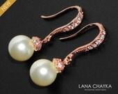 Pearl Rose Gold Bridal Earrings Swarovski 8mm Pearl CZ Earrings Bridal Ivory Pearl Drop Earrings Wedding Rose Gold Small Earrings Bridesmaid