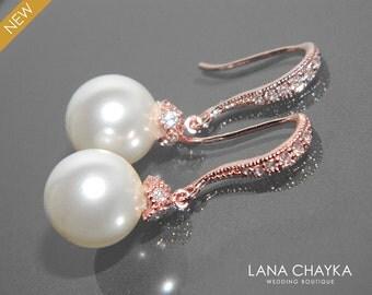 White Pearl Rose Gold Bridal Earrings Swarovski 10mm Pearl Wedding Earrings Rose Gold CZ Pearl Dangle Earrings Bridal Jewelry Prom Jewelry