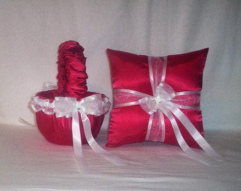 Red Satin With White Ribbon Trim Flower Girl Basket And Ring Bearer Pillow Set 1