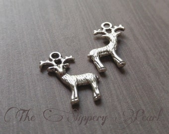 Deer Charms Deer Pendants Silver Deer Charms Buck Charms Hunting Charms Hunter Charms 10 pieces 3D Reindeer Charms Whitetail Charms