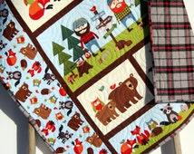 Lumberjack Quilt, FLANNEL Baby Boy Bedding, Woodland Forest, Bears Fox, Outdoor Nature, Nursery Crib Blanket Blue Brown Orange Ready to Ship