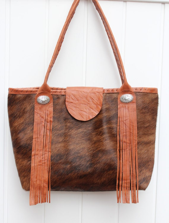 Cowhide Tote with Fringe