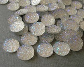 Druzy Resin Sparkly Glitter, Cabochons, Flat Back Round, AB Clear Color.
