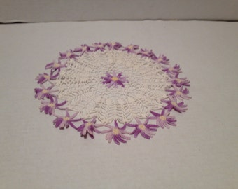 Handmade Vintage Purple Flowere Doily Home Decor Collectibles All Crocheted Crafts