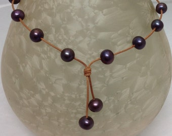 Cosmic Dark Energy Black Pearls & Leather necklace