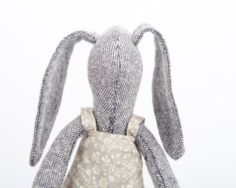 READY TO SHIP Easter Bunny, Stuffed Bunny doll , softie plush bunny , Cloth Doll , handmade Fabric Doll , eco gray knitted silk, rabbit doll