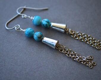 Tassel Earrings, Blue Earrings, Crazy Lace Agate Earrings, Steel Earrings, Long, Boho Earrings, Agate Jewelry, Tassel Jewelry