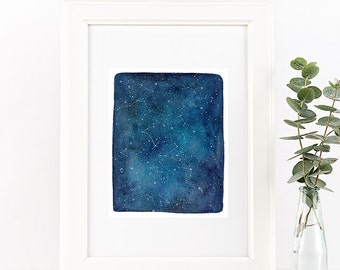 Watercolor Print.  Blue Universe. Stars and Constellations. Blue and White. Nursery Decor.