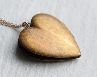 Large Heart Brass Locket... Vintage Oversized Antique Etched Locket