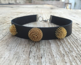 gold collar necklace, choker necklace, short necklace, black leather necklace, minimal choker, gold pine cone necklace, Woodland necklace