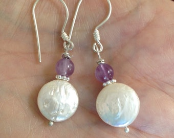 Coin Pearl Earrings Amethyst Pearl Earrings Gemstone Earrings Amethyst Earrings Classic Style