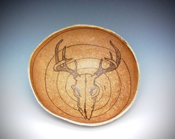 Wood fired ceramic bowl with deer skull mishima carving soda fired
