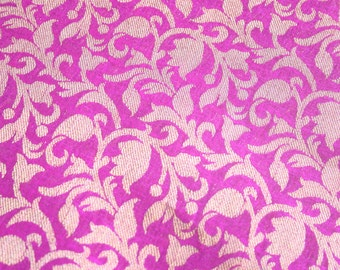 Hot Pink Gardens - 1 yard of Cotton Silk Brocade Fabric in gold and pink