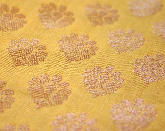 Yellow and Golden - 1 yard of Cotton Silk Brocade Fabric in gold and yellow