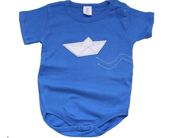 Paper Boat Onesie for Baby Boy, Origami Boat Bodysuit in Blue or Light Blue- Short or Long Sleeves