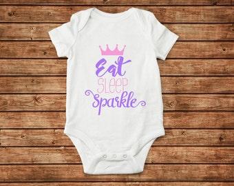 Eat Sleep Sparkle onesie baby girl newborn  toddler youth