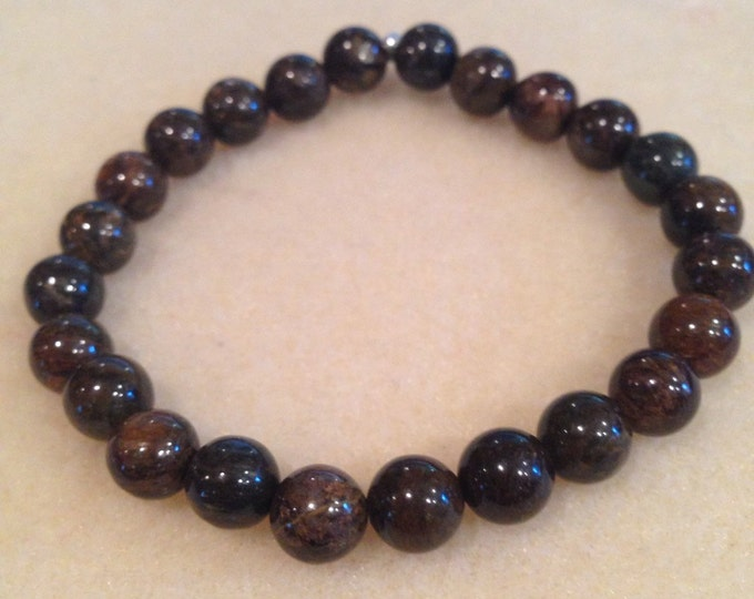 Bronzite 8mm Bead Stretch Bracelet with Sterling Silver Accent