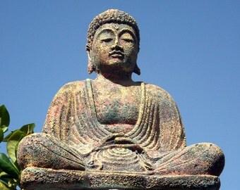 Meditating Buddha Statue - Incense holder, indoor outdoor, home decor, Zen decor, yoga gift, meditation room, volcanic stone statue
