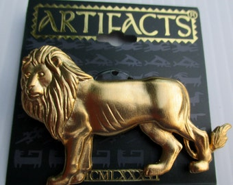 Lion Leo vintage JJ Jonette Jewelry pin brooch -  signed new old stock- Artifacts collectible unique gift under 20, king of beasts