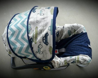 Retro Cars with Chevron accents and navy minky - Infant car seat cover - Custom order