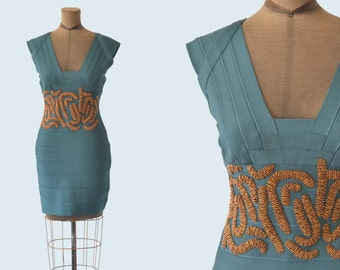Herve Leger Teal Beaded Bandage Dress size M/L