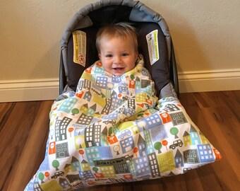 Car seat blanket, Infant carrier Blanket, car seat cover, City Snug L Bee, car seat cover, Infant Seat Blanket, car seat carrier blanket
