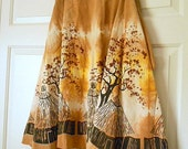 Vintage cotton hand dyed hand silk screened Wrap Skirt