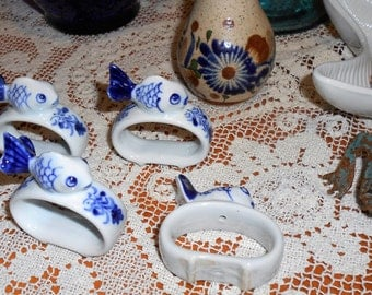 Vintage Set of Four Blue and White Ceramic Fish Napkin Ring Holders