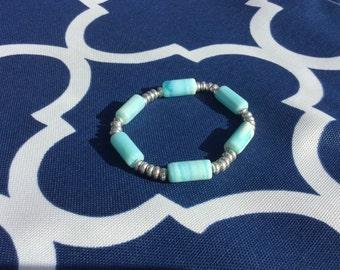 Everything's Beachy Aqua Blue Peruvian Opal and Silver Bracelet