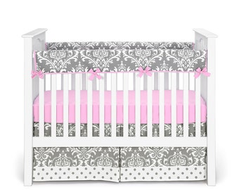 Girl Baby Crib Bedding - Damask Polka Dot Gray Baby Pink Rail Cover Bumperless - 3 Piece Crib Bedding Set by Sofia Bedding