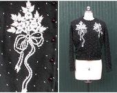 FOR BEADING  Vintage 1950's Black Cardigan Sweater with White Beading    Hupp's Hong Kong   Angora and Lambs Wool   Size Medium
