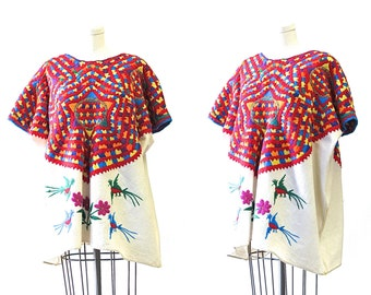ON The BRIGHT SIDE Vintage 70s Blouse | 1970s Guatemalan Hand Woven Embroidered Huipil, Birds Floral | Ethnic indigenous Boho Folk | X Large