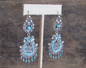 Vintage Style Mexican 925 Silver Earrings | Frida Kahlo Folk Hippie | Turquoise Beads Made in Mexico