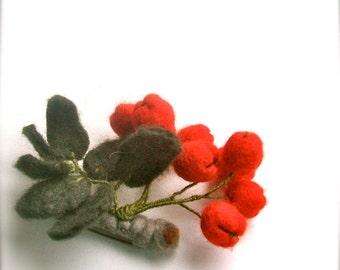 Felted brooch Rowan - Berries Brooch - Felted Berries Brooch- Wool brooch- Floral accessories