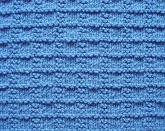 Medium Soft Blue Textured Baby Blanket Afghan, Hand-Knit Baby Blanket