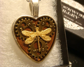 Clockwork Dragonfly- Heart with Gears Steampunk Dragonfly Pendant Necklace- (1972)