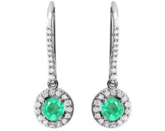 1.60 White Halo-Style Emerald Earrings 14K, Emerald Yellow Gold Dangle Earrings, Emerald Halo Earrings, Colombian Emerald Halo Earrings
