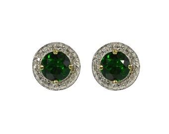 2.45tcw African Tsavorite & Diamond Post Earrings 14k, Tsavorite Green Garnet Round Stud Earrings 14K Yellow, White Gold, Diamond Halo Stud