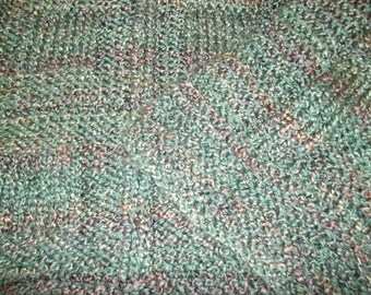 Teen to Adult Knitted Afghan Blanket - Homespun Evergreen and Brown