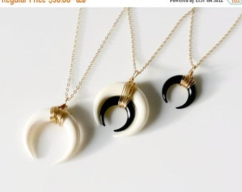 Double Horn Necklace, Moon Necklace Black, White or Layered, Gold or Silver Crescent Necklace, Boho Necklace, Layered Necklace