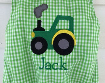 Personalized Boys Infant or Toddler Birthday Green and white gingham Shortall Jon Jon with Tractor Applique
