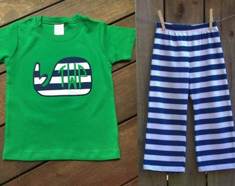 Personalized custom whale applique shirt with monogram with matching navy blue & White stripe Pants/shorts